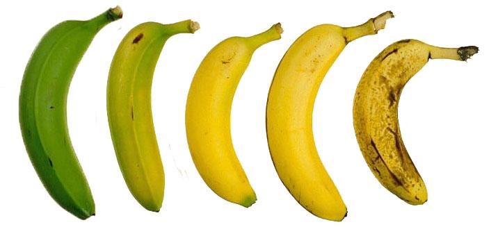 de banaan van onrijp tot rijp op een rij