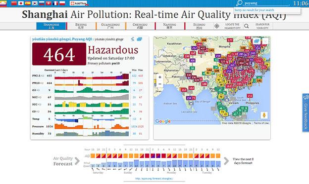 luchtvervuiling wereldkaart