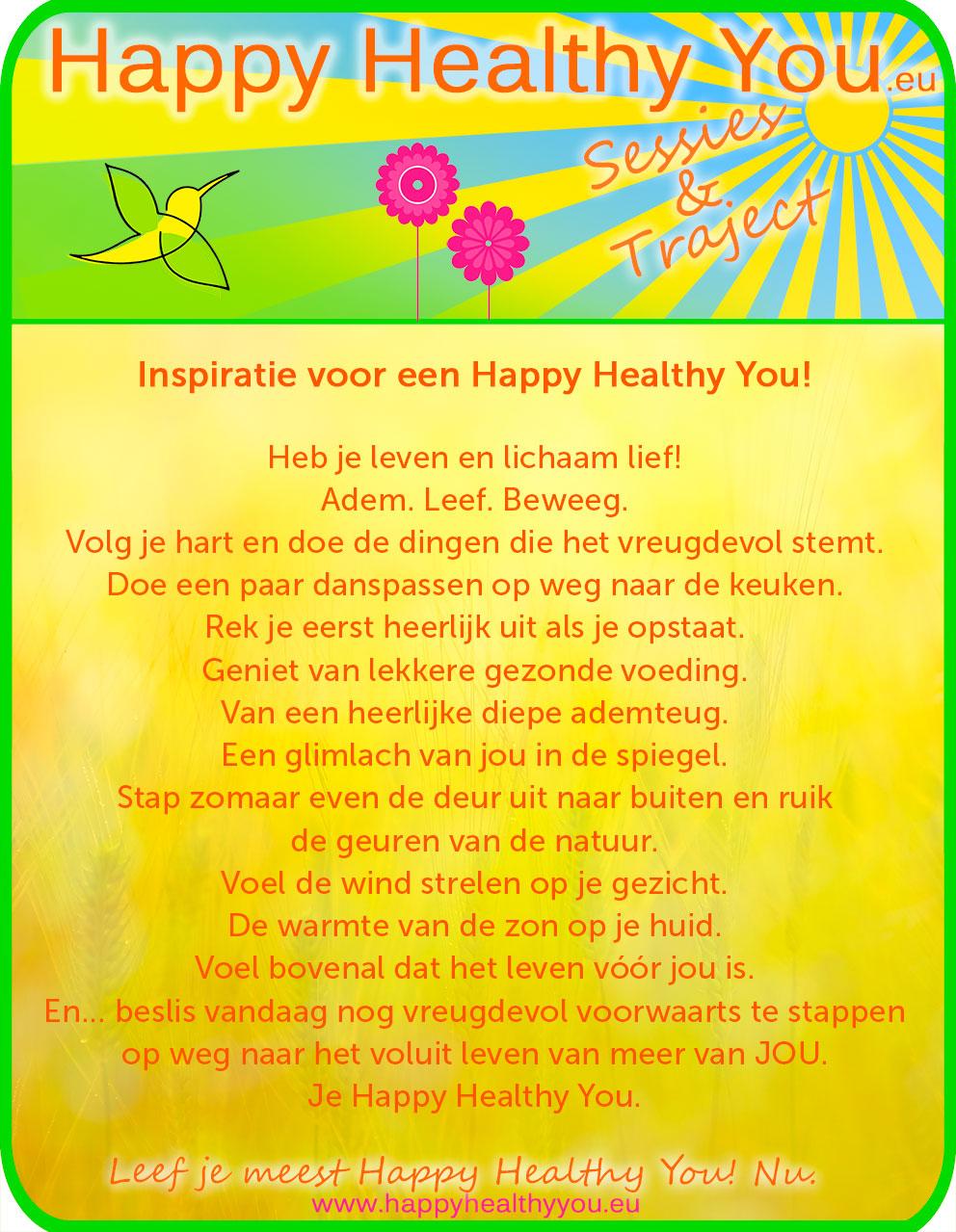 Inspiratie voor een Happy Healthy You
